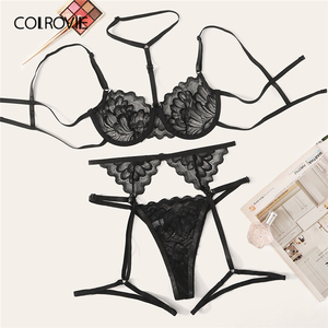 Image 1 - COLROVIE Floral Lace Underwire Garter Lingerie Set Women Underwire Intimates 2019 Solid Sexy Sets Bra And Thongs Underwear Set