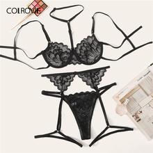 Colrovie Bloemen Lace Underwire Garter Lingerie Set Vrouwen Underwire Intimates 2019 Solid Sexy Sets Beha En Thongs Ondergoed Set