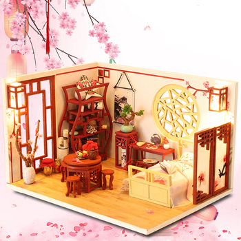 Diy Miniature Dollhouse Kits Wooden House New Year Christmas Gifts Toys For Children Roombox Vintage Doll Furniture Set