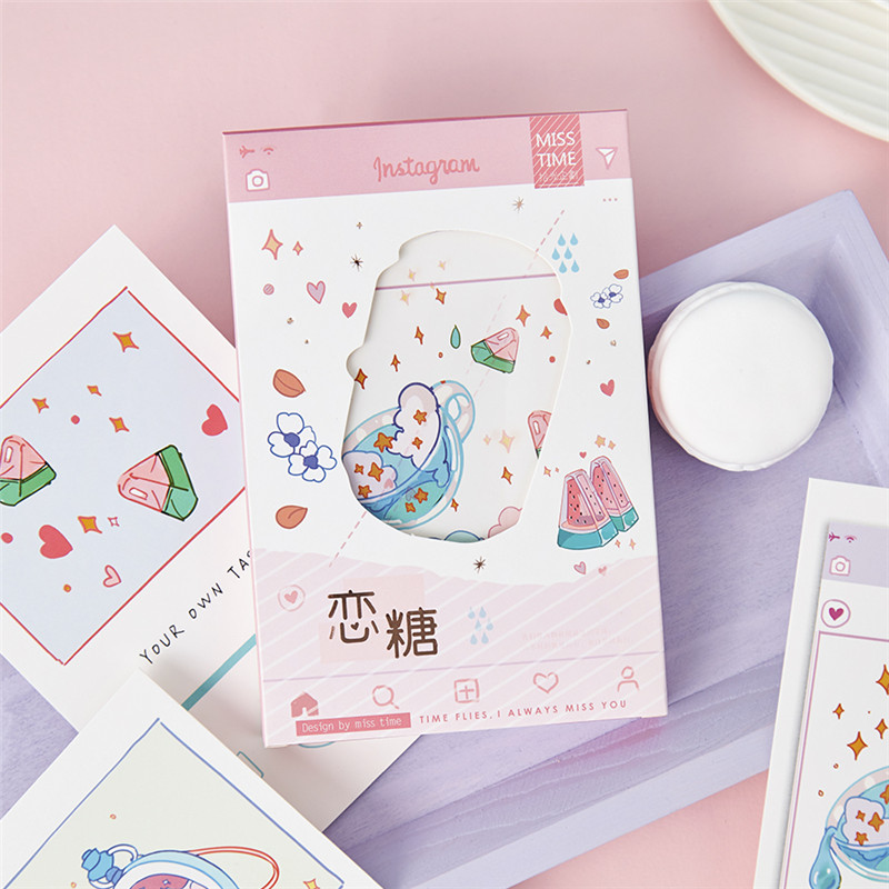 30 Sheets/Set Creative Love Sugar Postcard DIY Hand Painted Sweet Fruit Greeting Cards Birthday Letter Gift Card