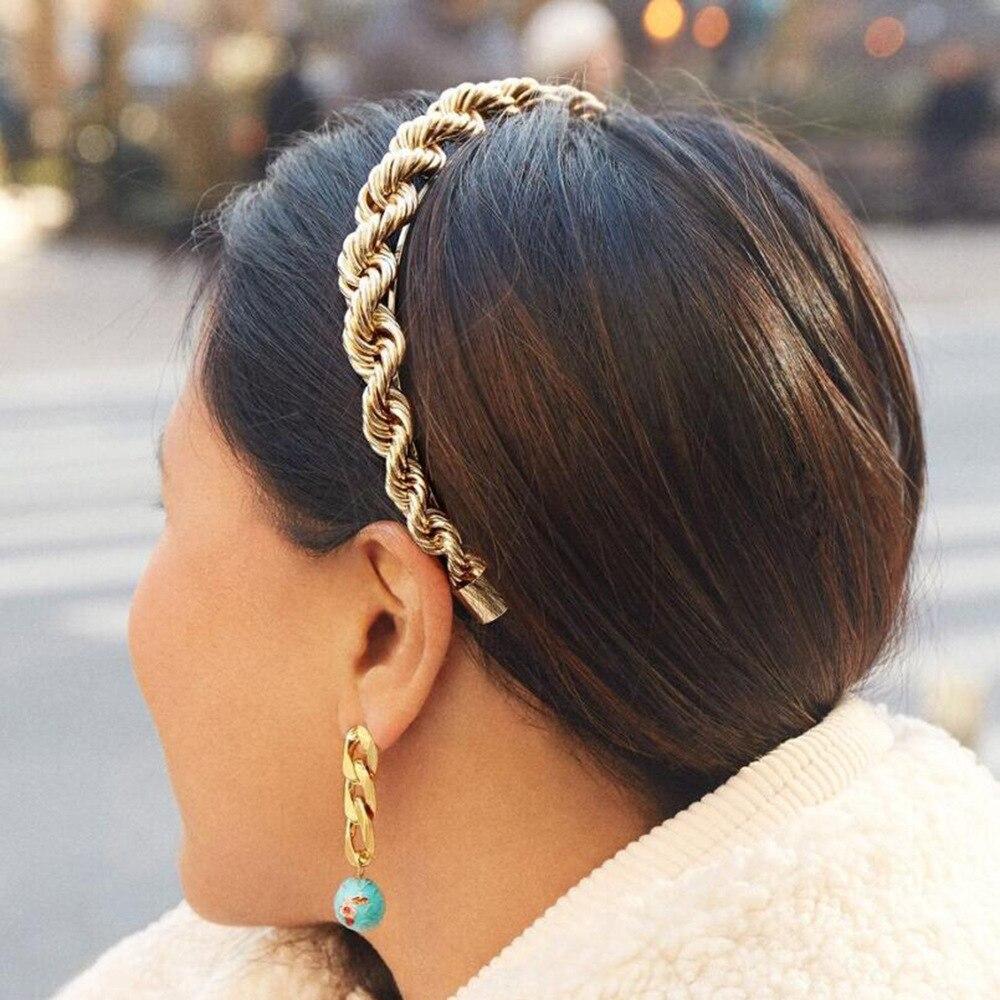 Haimeikang Women Bezel Head Hoop Alloy Chain Interlocking Metal Headband Headwear Fashion Twist Hair Accessories New Style
