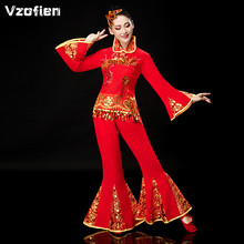 Suit Yangko-Clothing Chinese-Costume Dance-Wear National Adult Red Fan Waist-Drum Square