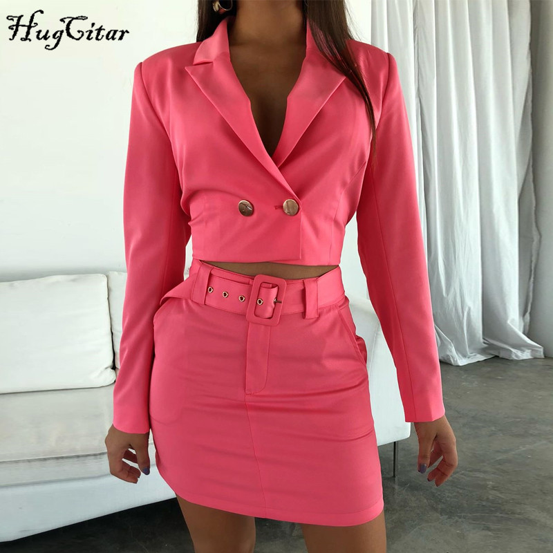 Hugcitar 2019 Long Sleeve Blazer Cropped Jacket Skirt With Belt 2 Pieces Set Autumn Winter Women Streetwear Outfits Solid Tracks