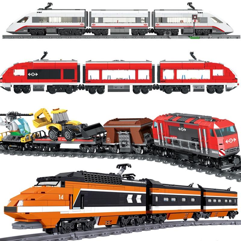 Technic RC City Electric Motor Passenger Train Sets Power Function Remote Control Rail Building Blocks Kid Toy Compatible Legoed