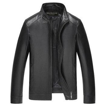 JODIMITTY 2020 New Autumn Winter Men Leather Jacket Stand Collar Plus Velvet Thick Warm Leather Jack