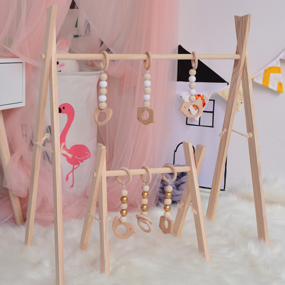 Nordic Style Baby Gym Wooden Crafts Newborn Baby Gym Frame Kids Bedroom Decor Wood Craft Baby Cartoon Toys Wooden Frame