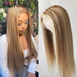 Mettre en évidence perruque cheveux humains dentelle perruques cheveux brésiliens T partie dentelle perruque pour les femmes noires pré plumé Piano Ombre cheveux Remy