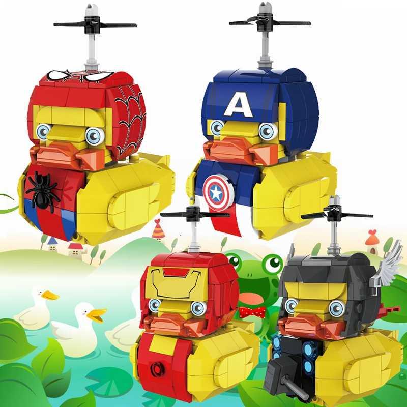 قفل مارفل المنتقمون أرقام كابتن أمريكا الرجل الحديدي aranidi رجل ثور الحيوانات بطة ألعاب مكعبات البناء للأطفال قفل