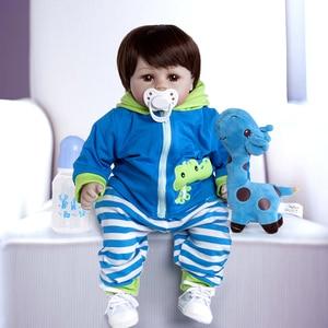 19inch Handmade Reborn Dolls Silicone vinyl adorable Lifelike toddler Baby Bonecas boy kid bebes doll reborn menina de silicone(China)