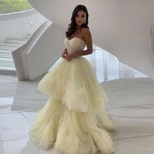 Yellow Ball Gown Prom Dresses Long Spaghetti Straps Tiered L