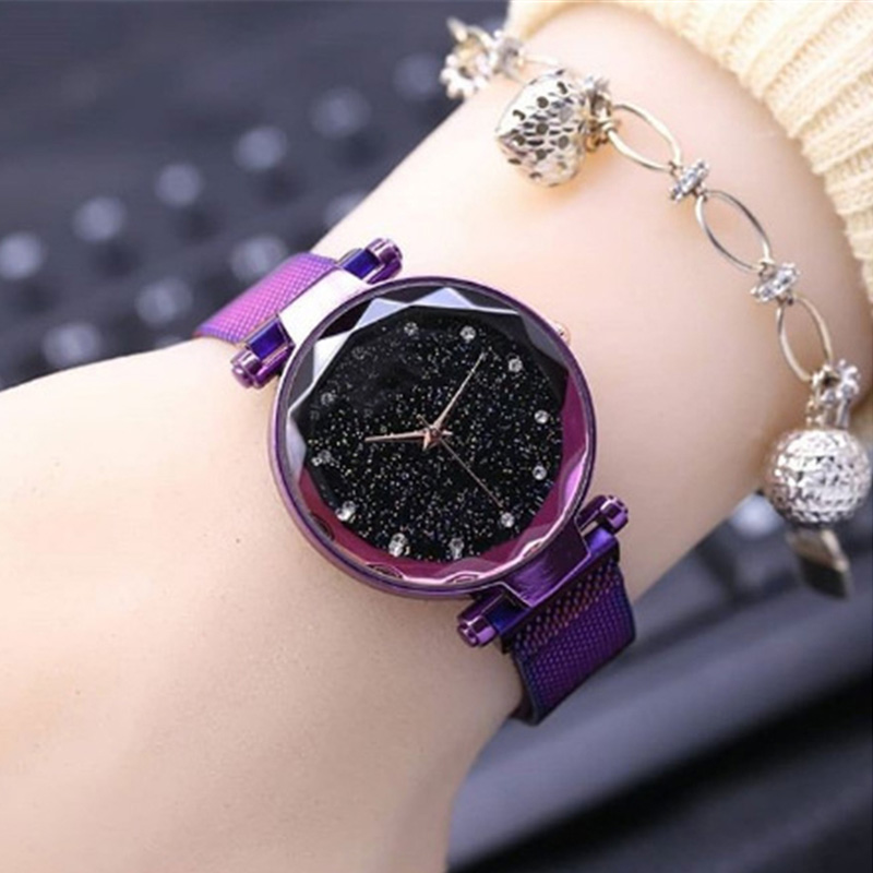 Ladies Watch Luxury Magnet Stainless Steel Mesh Band Starry Sky Women Watches Rhinestone Watch Diamond Bracelet Clock For Gift