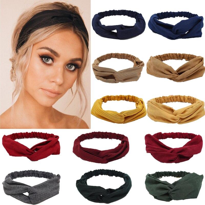 Suede Twist Turban Women Hair Band Bows Elastic Headkerchief Sport Hairbands Head Band Knot Headband For Girls Headwear Headwrap