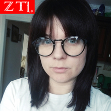 ZT Fashion Round Eyeglasses Brand Designer Men Black Circling Optical Frame Glasses Women Eyewear Plain UV400