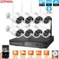 PlugandPlay 8CH 1080P Audio Wireless NVR Kit P2P1080P Indoor Outdoor Nachtsicht Sicherheit 2 0 MPaudio IP Kamera WIFI CCTV system-in Überwachungssystem aus Sicherheit und Schutz bei