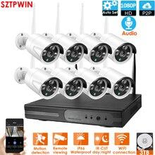 PlugandPlay 8CH 1080P Аудио Беспроводной NVR комплект P2P1080P Крытый Открытый Ночное Видение безопасности 2,0 MPaudio IP камера WIFI CCTV система