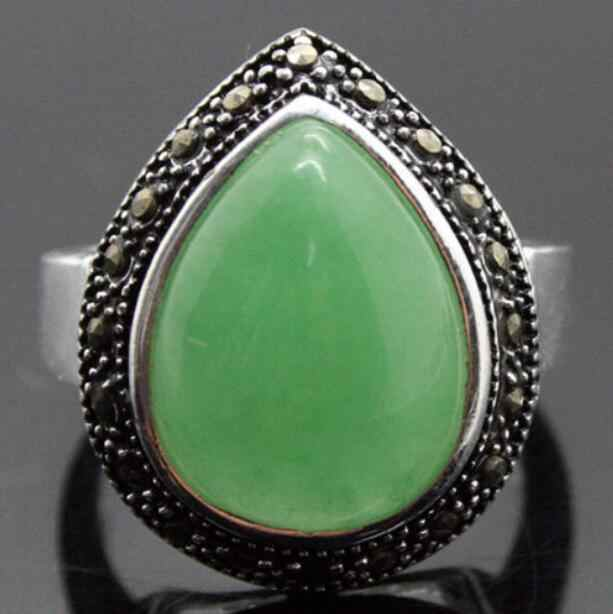 Jewelry Pearl Ring wholesale new RARE HUGE DROP GREEN Natural Stone MARCASITE 925 STERLING SILVER RING SIZE 7/8/9/ Free Shipping