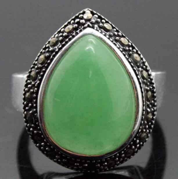 เครื่องประดับแหวนมุกขายส่งใหม่หายากขนาดใหญ่ DROP สีเขียวธรรมชาติหิน MARCASITE ขนาดแหวนเงิน 925 ขนาด 7/8 /9/จัดส่งฟรี