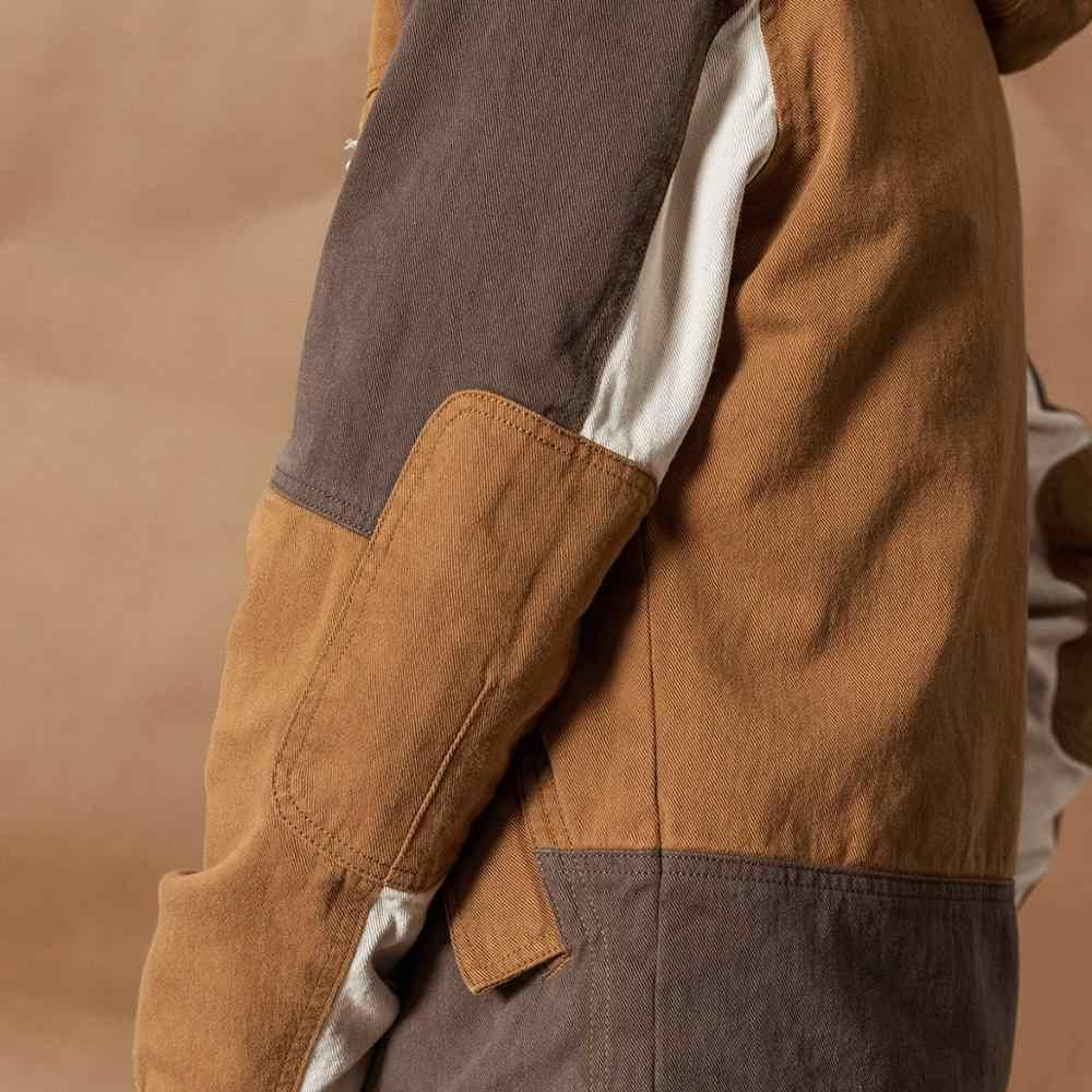 Simwood com capuz retalhos contraste cor jaquetas masculino vintage 100% algodão outerwear plus size primavera inverno novo campo casacos 980586