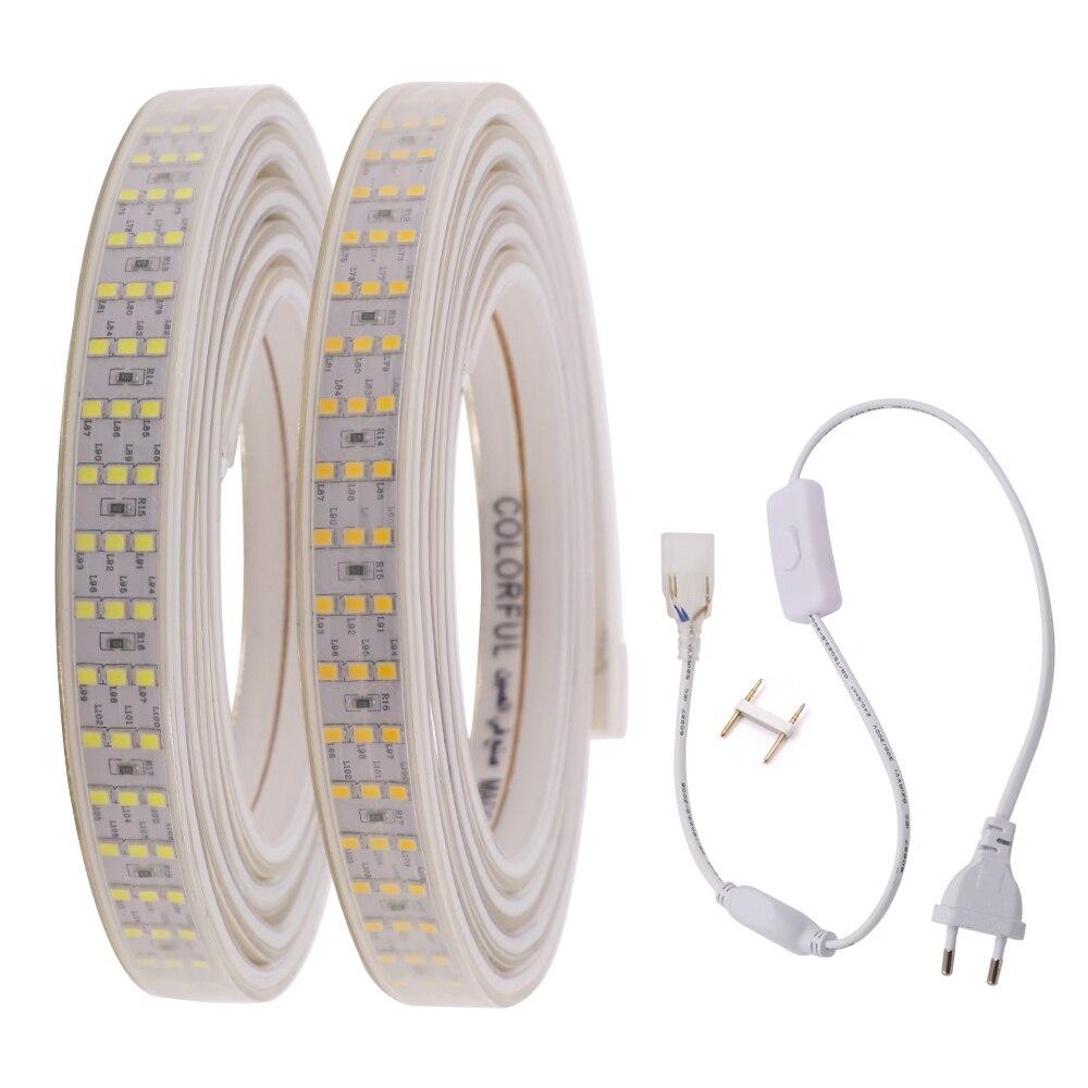 อัพเกรด 2835 LED Strip สามแถว 276 LEDs/M 220V 240V AC กันน้ำ IP67 Flex LED เทปตกแต่งไฟ LED แบบ LED