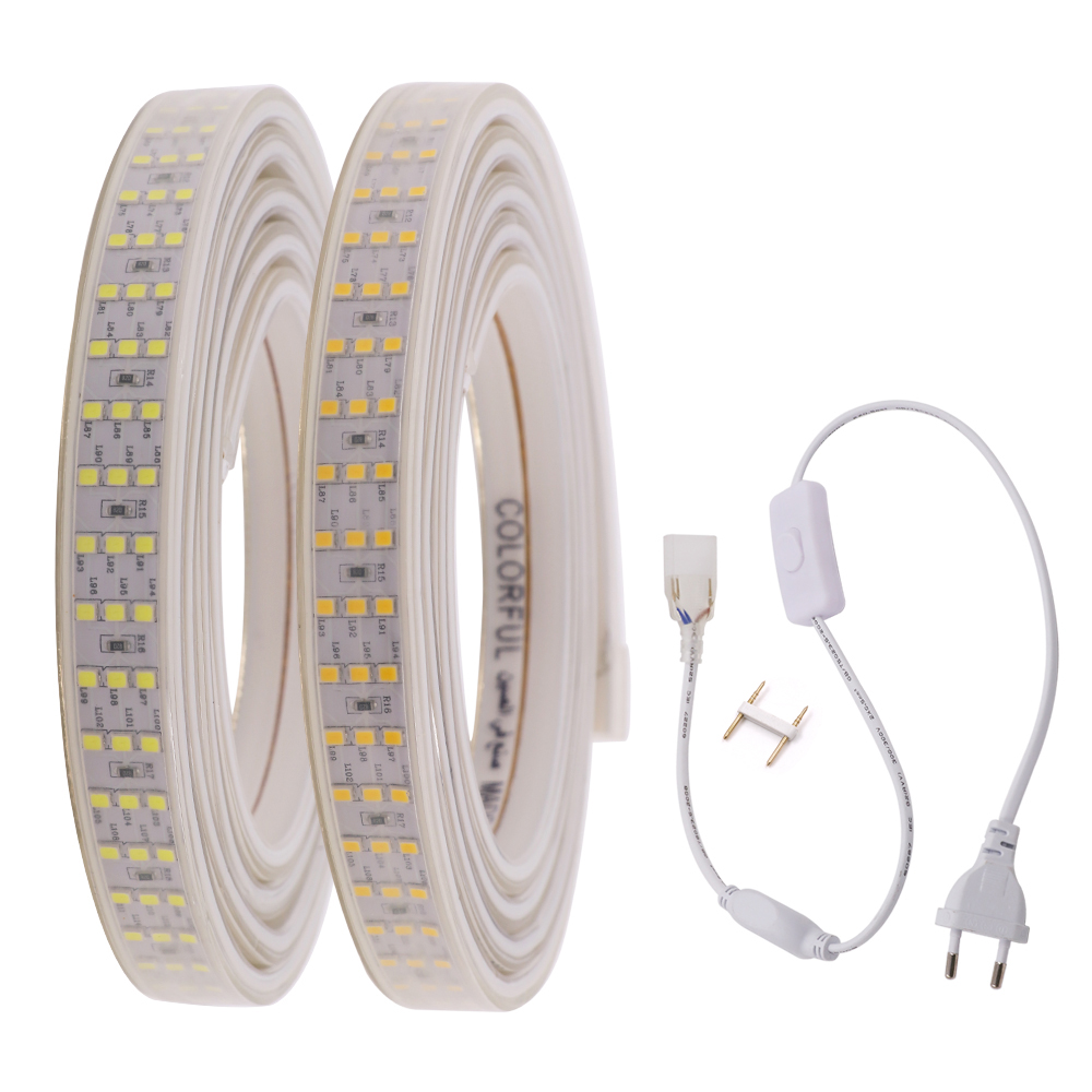 Upgrade 2835 LED Strip Light Three Row 276Leds/m 220V 240V AC Waterproof IP67 Flex LED Tape Home Decoration Dimmable LED Lights