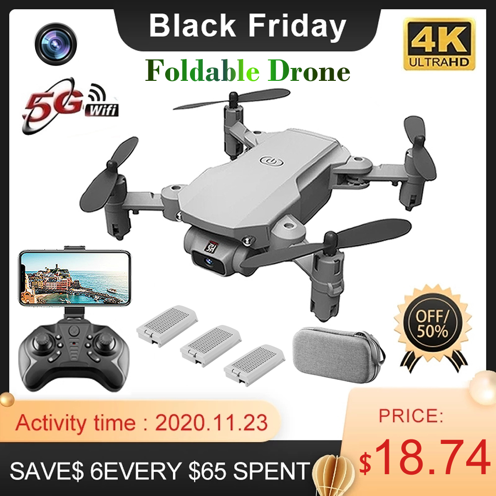 RC Drone UAV Quadcopter WiFi FPV with 4K HD Camera Aerial Photography Helicopter Foldable LED Light Quality Global Toy JIMITU 1