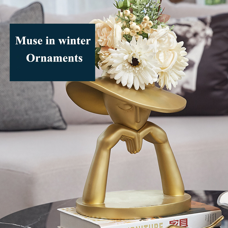Resin Vase In Winter Series Table Flower Vase Fashion Muse Figurines Home Living Room Decorative Art Portrait Gold Big Vase