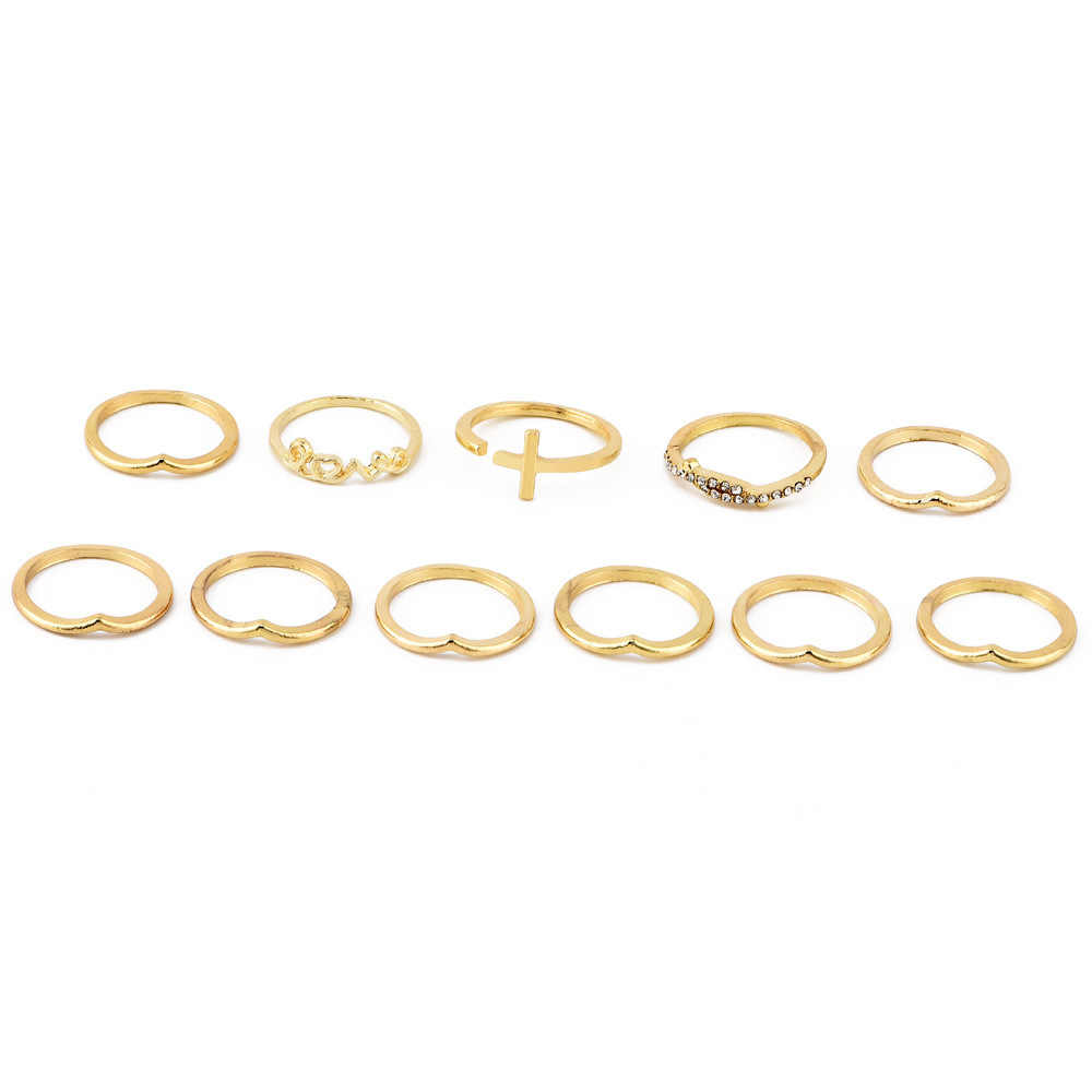 חדש טבעות תכשיטי צלב אהבת מכתב מסוקס טבעת סט בציר Anillos טבעות לנשים פאנק זהב טבעת טבעת סט סיטונאי