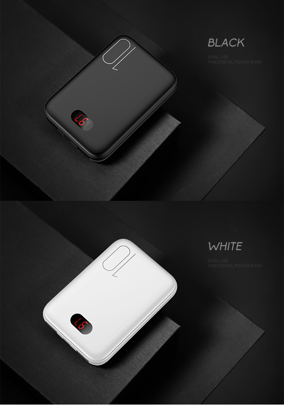 Power Bank for xiaomi mi iPhone,USAMS Mini Pover Bank 10000mAh LED Display Powerbank External Battery Poverbank  Fast charging