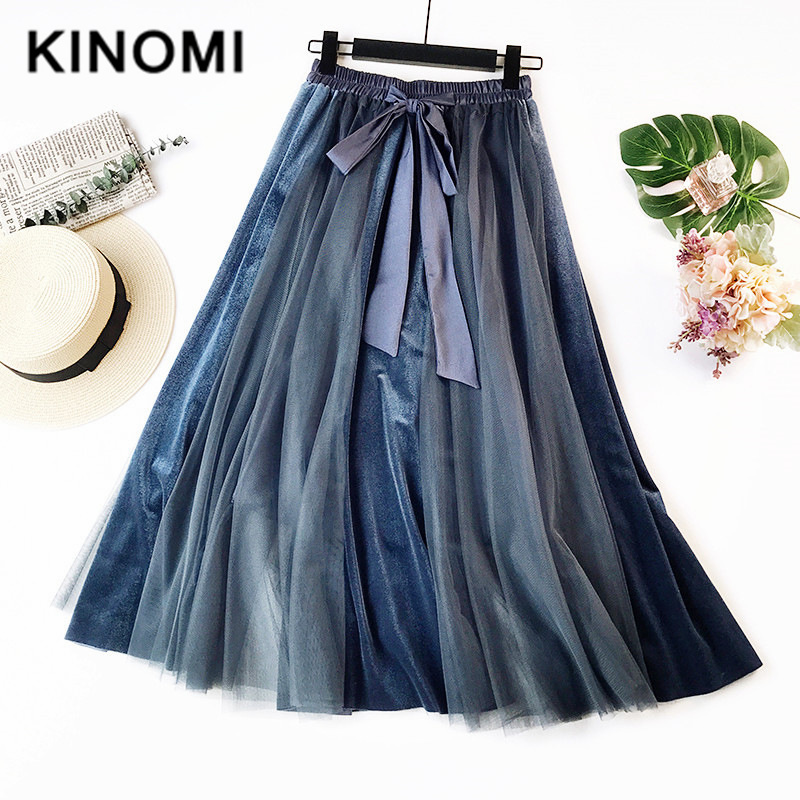 KINOMI 2020 Spring New Velvet Mesh Patchwork A-Line Skirts Vintage Long Skirts Ladies Korean OL Style Lace-up Cake Skirts Saias