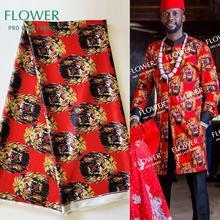 Red African Ankara Traditional Wedding Dress Silk Lace Material High Quality 2019 Nigeria George Silk Isiagu Prints Lace Fabric