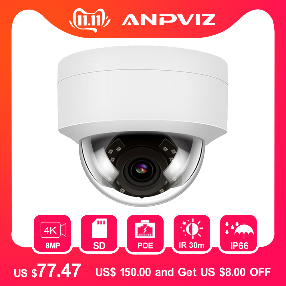 4K POE IP Camera Outdoor/Indoor 8MP Security Dome Video Surveillance Cameras Audio NIght Vision IP66 Weatherproof