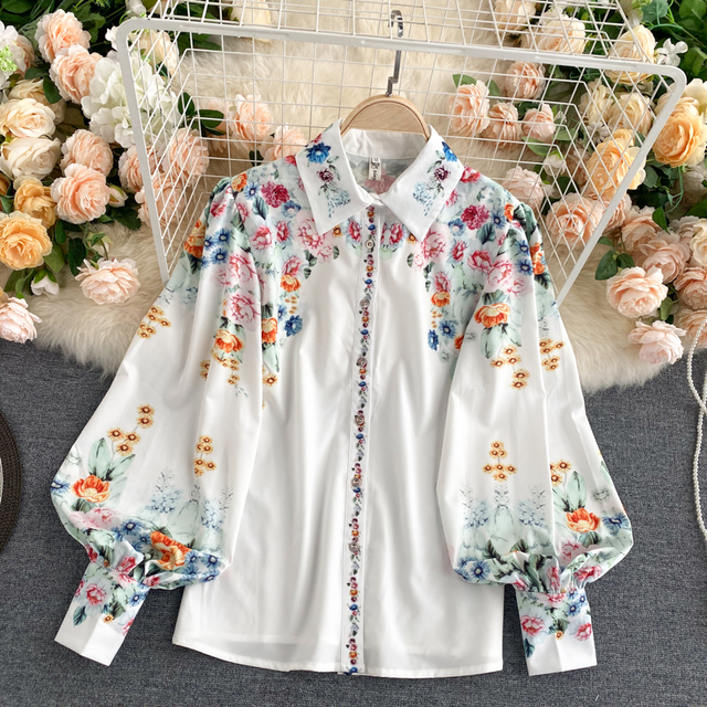 Spring Autumn New Women Vintage Designed Blouses Printed Lantern Long Sleeves Single Breasted Loose Shirt Tops Ladies