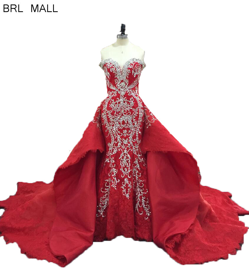 Beads Red Lace Mermaid Wedding Dresses Overskirts Sweetheart