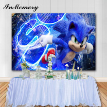 InMemory 7x5ft Cartoon Sonic Party Photo Background Kids Birthday Party Photography Backdrops Photo Studio Banner Vinyl Props