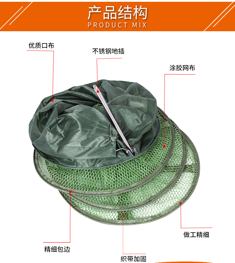 Steel Fork Fish Basket Thick Gelatinization Anti Hanging Fish Net Quick-Dry Fish Net Angling Supplies
