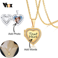 Vnox Personalize Engrave Name Heart Locket Necklaces for Women Custom Family Love Photos Images Anniversary Keepsake Gifts