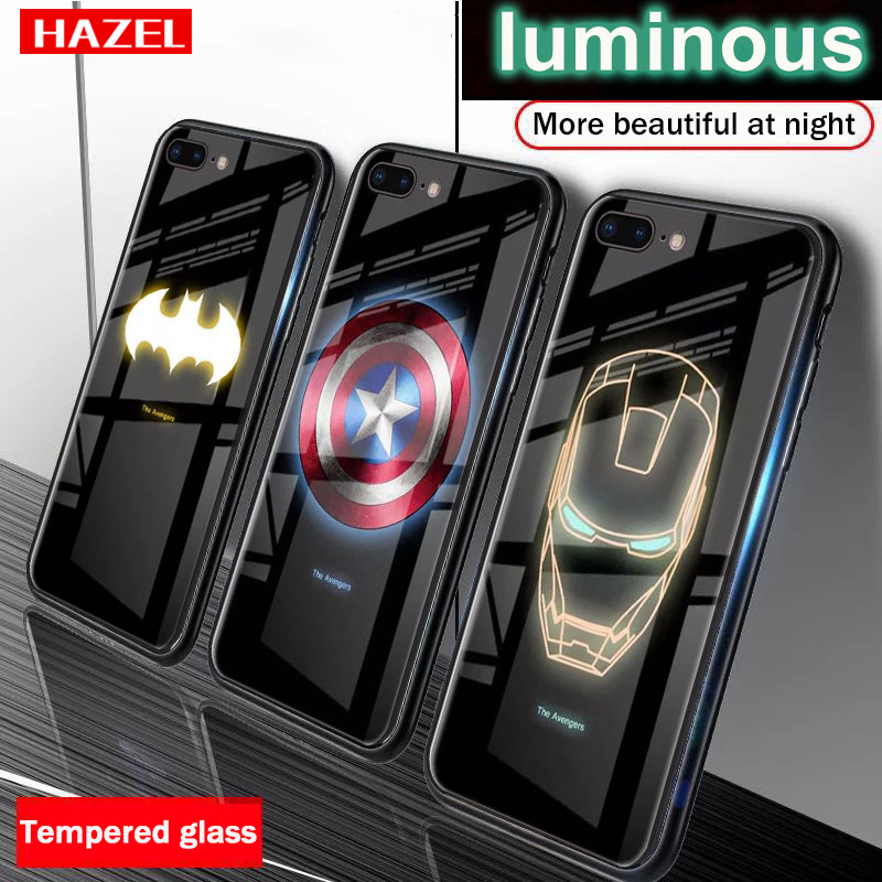 Marvel Avengers Luminous Tempered Glass <font><b>Case</b></font> <font><b>for</b></font> <font><b>iPhone</b></font> <font><b>X</b></font> <font><b>XS</b></font> <font><b>MAX</b></font> XR 10 6 6S 7 8 Plus 7Plus 8Plus 11 PRO Coque Batman Phone Cover image