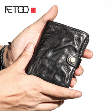 AETOO Mens wallet mens short leather wallet buckle buckle fashion wallet vintage male youth thin soft retro wallet vertical