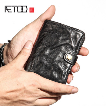AETOO Men's wallet men's short leather wallet buckle buckle fashion wallet vintage male youth thin soft retro wallet vertical фото