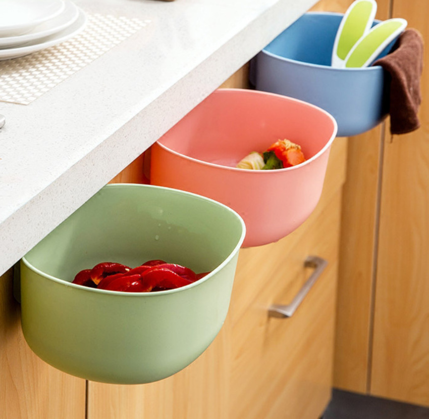 Nordic Plastic Box Kitchen Cabinet Door Hanging Large Trash Can European Fashion Coverless Plastic Storage Box Kitchen Items