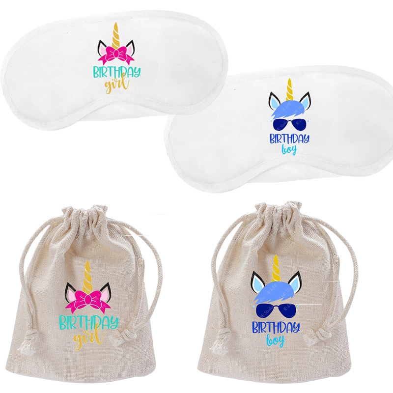 boy girl Unicorn theme first 1st 2th 3th 4th 5th 6th 7th <font><b>8th</b></font> 9th 10th <font><b>birthday</b></font> party Decoration gift favor candy bag sleep mask image
