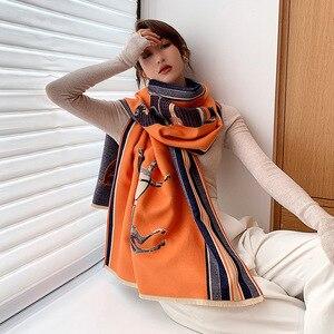 Роскошный брендовый зимний кашемировый шарф с животным принтом, женские толстые теплые шали, женские дизайнерские шали из пашмины, одеяло, ...