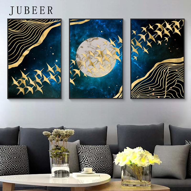 Scandinavian Style Golden Bird Abstract Canvas Painting Moon Wall Art Home Decoration Modern Wall Pictures for Living Room