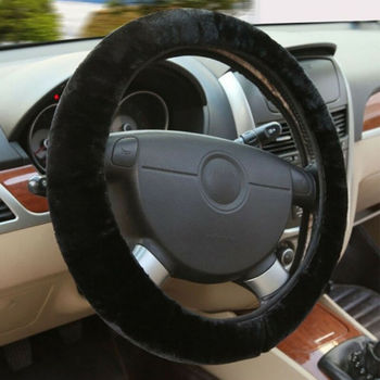 Winter Warm Soft Plush Car Steering Wheel Cover Braid On The Steering-wheel Winter Warm Covers Car Styling Interior Accessories image