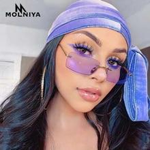 2020 Rectangle Rimless Sunglasses Women Square Vintage