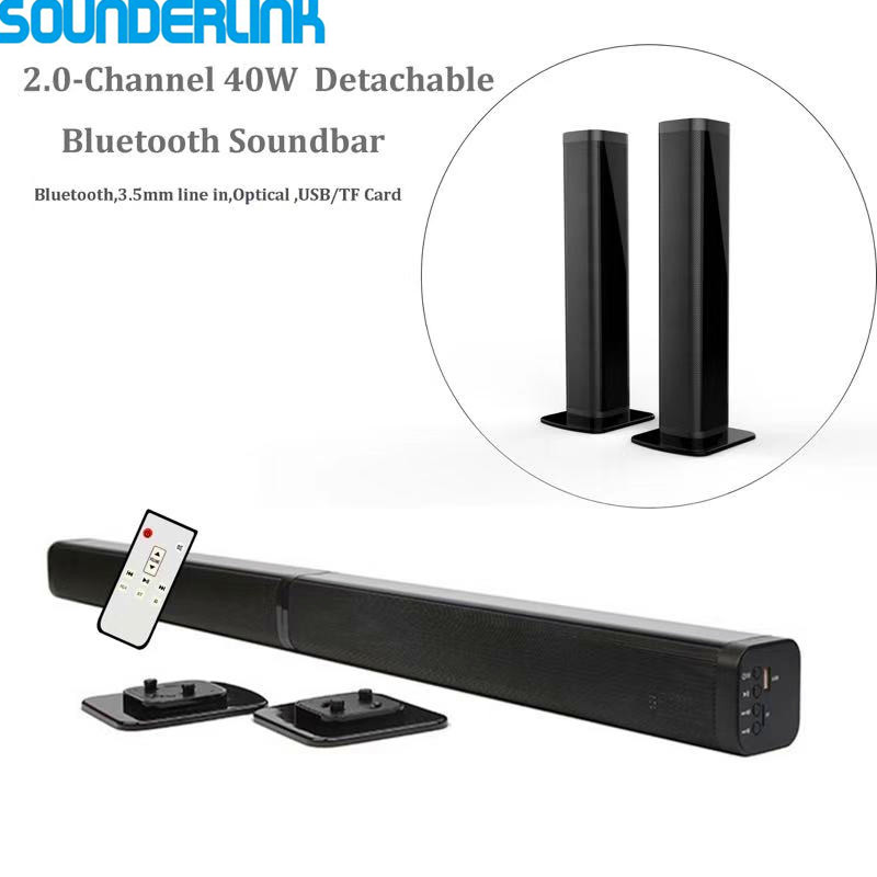Sounderlink Wireless Detachable Bluetooth TV Soundbar Speaker Home Theater Bar Support Optical SPDIF AUX IN For Home