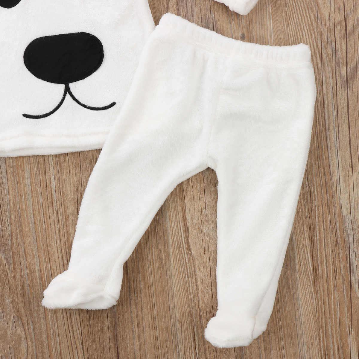 3 قطع طويلة الأكمام الصوف الدب بانت الأعلى و طقم قبعات للطفل الصبي الملابس الشتوية الدافئة