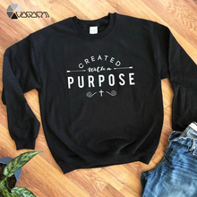 Plus Size Casual Autumn Thin Women Pullover Created With A Purpose Graphic Sweatshirt Christian Religion Aesthetic Hoodie Top skew collar pullover sweatshirt with graphic