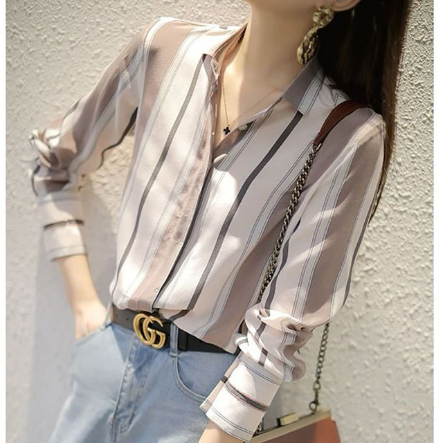 Spring Autumn Style Women Chiffon Blouses Shirts Lady Office Work Wear Stand Collar Striped Printed Blusas Tops DD8953 3