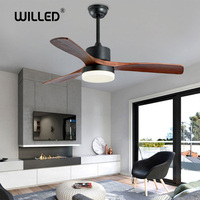 LED Ceiling Fans lamp For Living Room 220V Wooden Ceiling Fan With Lights 42 48 52 Inch Blades Cooling Remote Dimming Lamp